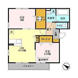 埼玉県八潮市大字大瀬の賃貸アパートの間取り