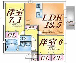 兵庫県神戸市兵庫区大井通2丁目の賃貸アパートの間取り