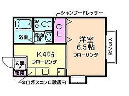 大阪府箕面市瀬川2丁目の賃貸アパートの間取り