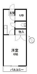 JR東北本線 久喜駅 徒歩25分の賃貸アパート 1階1Kの間取り