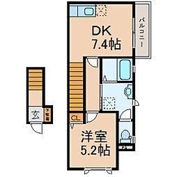 滋賀県高島市今津町松陽台1丁目の賃貸アパートの間取り