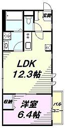 西武拝島線 東大和市駅 徒歩15分の賃貸アパート 1階1LDKの間取り