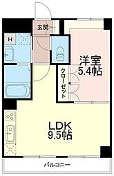 ディアベルジュ 2階1LDKの間取り