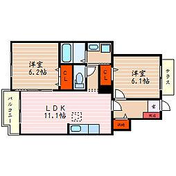 滋賀県彦根市野口町の賃貸アパートの間取り