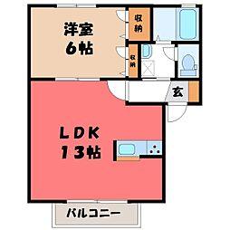 栃木県宇都宮市泉が丘7の賃貸アパートの間取り