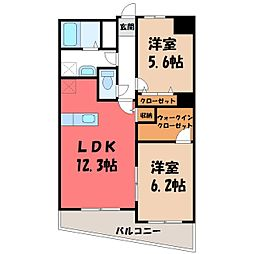 栃木県宇都宮市中今泉5丁目の賃貸マンションの間取り