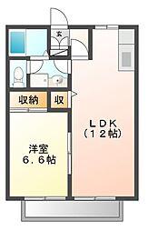 愛知県岡崎市中島町字遂分の賃貸アパートの間取り