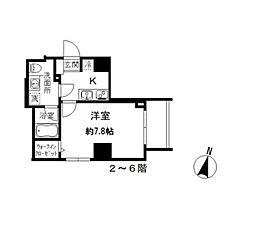 都営三田線 春日駅 徒歩4分の賃貸マンション 6階1Kの間取り