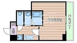 Osaka Metro御堂筋線 なんば駅 徒歩9分の賃貸マンション 4階1Kの間取り