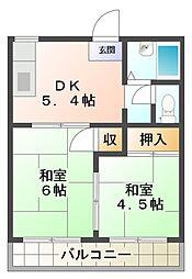 タウニィ石原 A棟[1階]の間取り