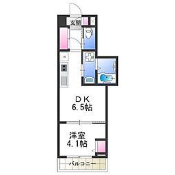 Osaka Metro御堂筋線 あびこ駅 徒歩6分の賃貸マンション 5階1DKの間取り