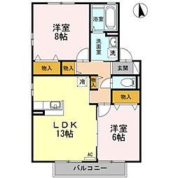リビングタウン江戸屋敷 B棟[105号室]の間取り