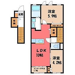 JR東北本線 石橋駅 徒歩12分の賃貸アパート 2階2LDKの間取り