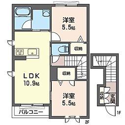 グランドール II 2階2LDKの間取り