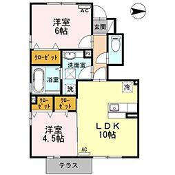 富山県富山市米田町2丁目の賃貸アパートの間取り
