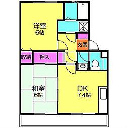 神奈川県横浜市都筑区荏田南4丁目の賃貸アパートの間取り