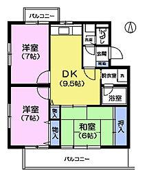 東京都杉並区上井草1丁目の賃貸マンションの間取り