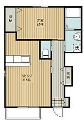 JR川越線 武蔵高萩駅 徒歩5分の賃貸アパート 1階2LDKの間取り