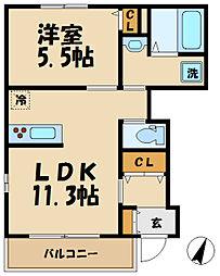 多摩都市モノレール 甲州街道駅 徒歩8分の賃貸マンション 1階1LDKの間取り