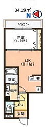 福岡市地下鉄空港線 西新駅 徒歩5分の賃貸マンション 4階1DKの間取り