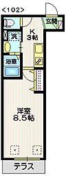 東急東横線 中目黒駅 徒歩8分の賃貸マンション 1階1Kの間取り