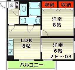 メゾンコトブキ新森 3階2LDKの間取り