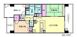 ライオンズマンション中津[9階]の間取り