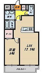 大阪府大阪市鶴見区緑2丁目の賃貸マンションの間取り