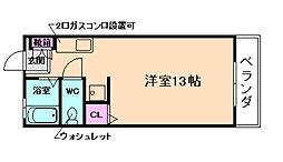 平野第2ワンルーム[4階]の間取り