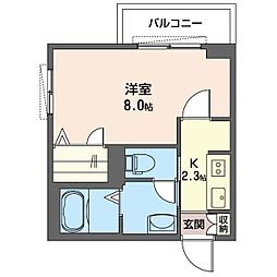 仮)K's ウィステリア 2階1Kの間取り