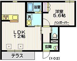 仮)中川3丁目メゾン 1階1LDKの間取り