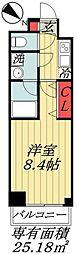 東京メトロ東西線 行徳駅 徒歩10分の賃貸マンション 3階1Kの間取り
