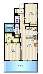 プランドール横浜 1階2LDKの間取り
