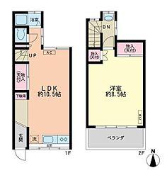 渋谷区広尾5丁目 2階1LDKの間取り