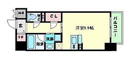 ドゥ―エ立売堀 9階ワンルームの間取り