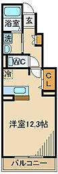 京王線 多磨霊園駅 徒歩5分の賃貸アパート 1階ワンルームの間取り