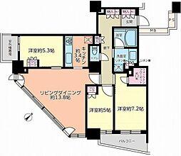 JR総武線 東中野駅 徒歩3分の賃貸マンション 27階3LDKの間取り