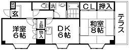 大阪府寝屋川市国松町の賃貸マンションの間取り