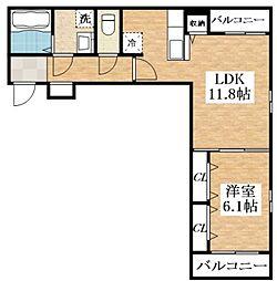 メゾン・ド・コクーン 3階1LDKの間取り
