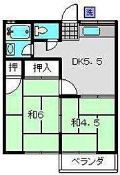 神奈川県横浜市泉区新橋町の賃貸アパートの間取り