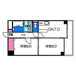 ロイヤルファミリー淀川邸 3階2DKの間取り