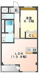 メゾン・クレール 2階1LDKの間取り
