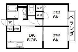 シャーメゾンリーリエC棟[2階]の間取り