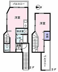 上井草ハウス 2階1LDKの間取り