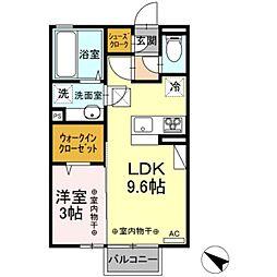 D-room野木町丸林 1階1LDKの間取り