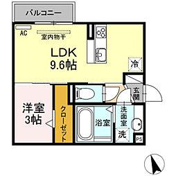 愛知県豊橋市東幸町字水神の賃貸アパートの間取り