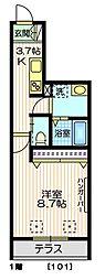 東京メトロ南北線 麻布十番駅 徒歩9分の賃貸マンション 1階1Kの間取り