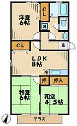 東京都多摩市貝取の賃貸アパートの間取り