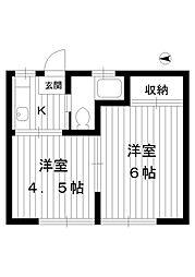 東京都練馬区桜台6丁目の賃貸アパートの間取り