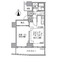 JR山手線 浜松町駅 徒歩3分の賃貸マンション 33階1LDKの間取り
